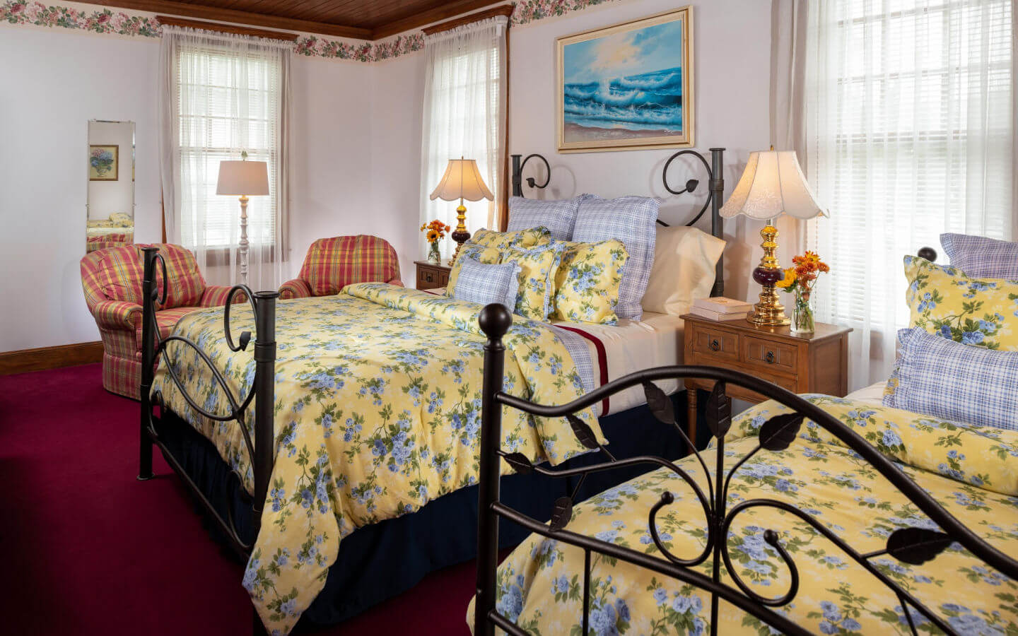 Room C - Samuel Langhorne Clemens Room queen and twin beds at our Cape Cod B&B