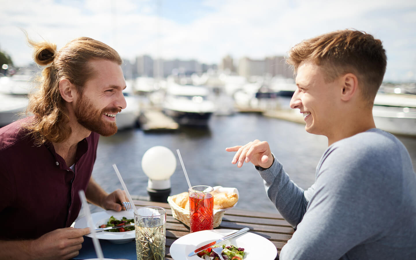 Two Men Enjoy Dinner at a Waterfront Cape Cod Restaurant