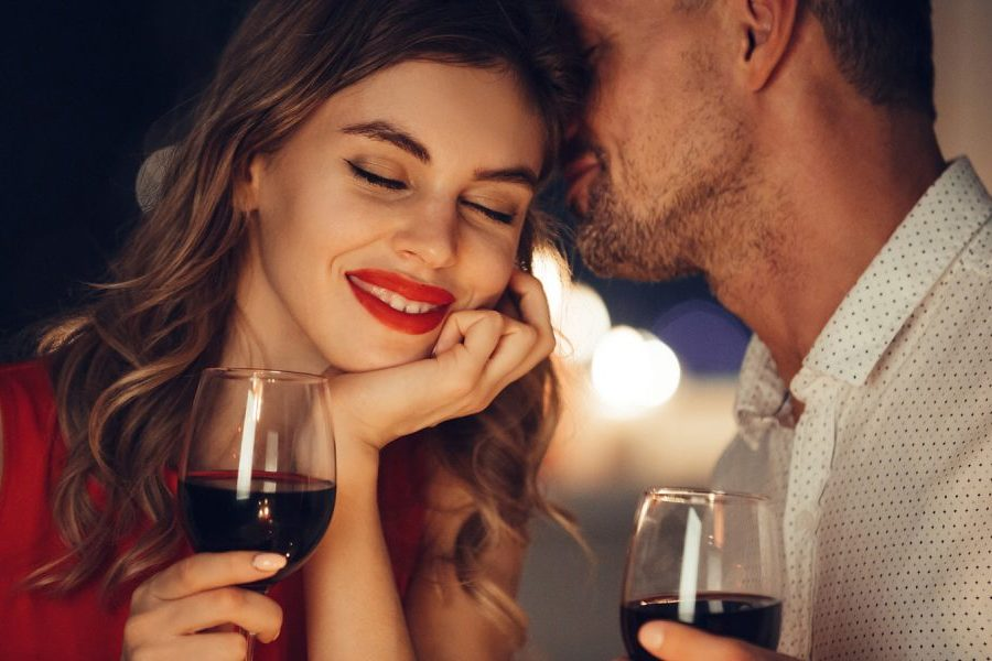 Couple Drinking Wine During Romantic MA Staycation