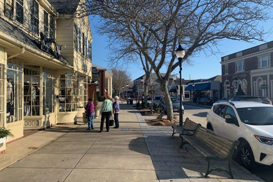 main street in Falmouth with shoppers