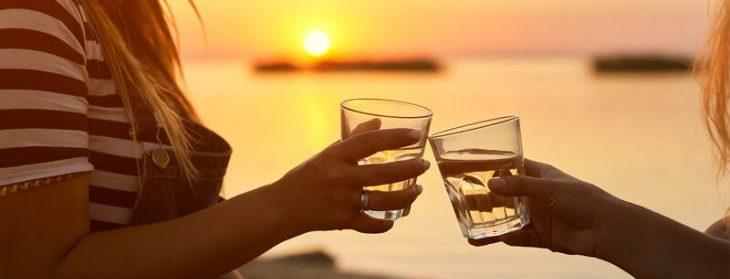 Holding Drinks at Sunset on Getaway near New York