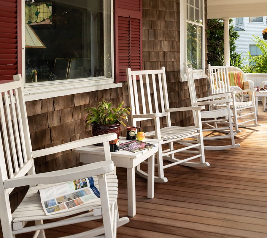 front porch rocking chairs at our Cape Cod B&B in Falmouth